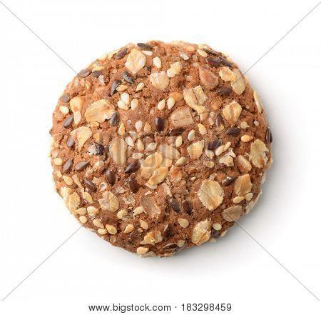 Top view of multigrain cookie isolated on white