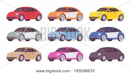 Set of new economy compact class car in bright red, orange, yellow, brown, green, blue, pink, black color, three-door vehicle image, vector illustration isolated on white background