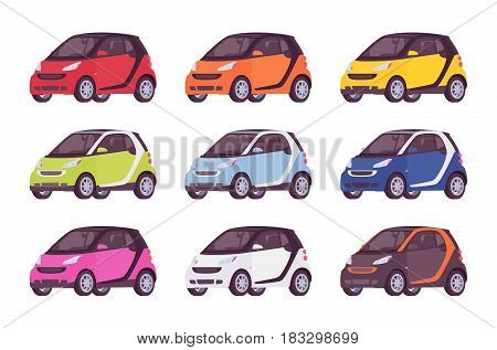 Set of mini electric class car in red, orange, yellow, green, blue, pink, whiye, black color, new model for modern cirty, eco-friendly, urban vehicle vector illustration isolated on white background