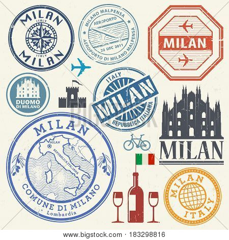International business travel visa stamps or symbols set Italy Milan theme vector illustration