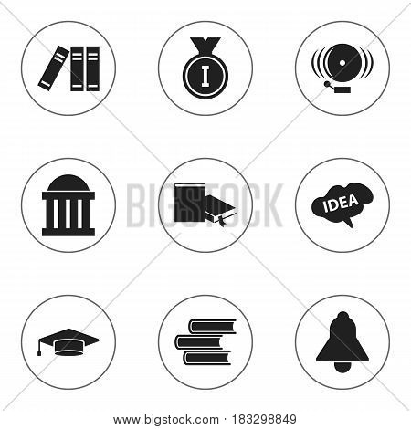 Set Of 9 Editable Education Icons. Includes Symbols Such As Graduate, Bell, Library And More. Can Be Used For Web, Mobile, UI And Infographic Design.