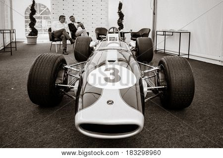 BERLIN - JUNE 14 2015: Racing car Formula-2 Brabham BT23-5 pilot Jochen Rindt 1967. Stylization. Toning. The Classic Days on Kurfuerstendamm.