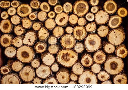 Firewood neatly cut into blocks and folded