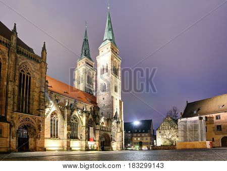 Nuremberg - St. Lawrence church at night Germany