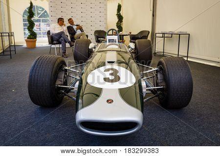 BERLIN - JUNE 14 2015: Racing car Formula-2 Brabham BT23-5 pilot Jochen Rindt 1967. The Classic Days on Kurfuerstendamm.