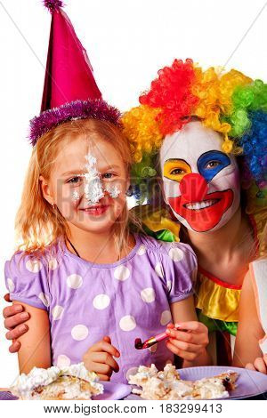 Birthday child clown eating cake with girl together. Kid with messy face have tier cake fight on isolated.
