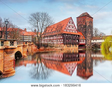 Nuremberg in Germany at  Bridge at night
