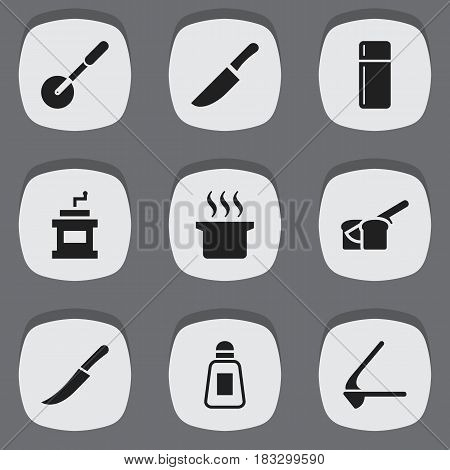 Set Of 9 Editable Meal Icons. Includes Symbols Such As Bakery, Knife, Crusher And More. Can Be Used For Web, Mobile, UI And Infographic Design.