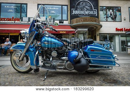 BERLIN - JUNE 14 2015: Motocycle Harley-Davidson Electra Glide Ultra Classic. The Classic Days on Kurfuerstendamm.
