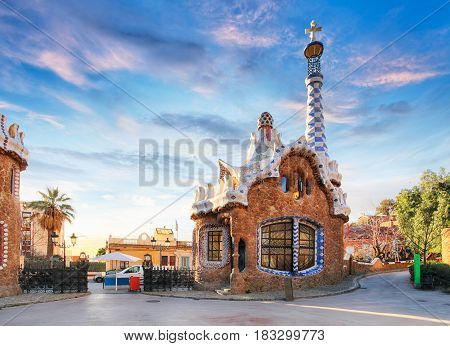amazing Park Guel in Barcelona at sunset