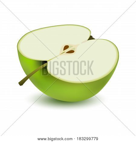 Isolated realistic colored half slice of juicy green apple with shadow on white background. Side view