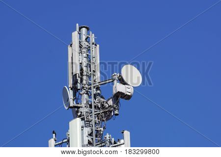Telecommunications tower antenna cells for mobile communications