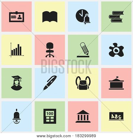 Set Of 16 Editable Education Icons. Includes Symbols Such As Calculator, Graduated Female, Alarm Bell And More. Can Be Used For Web, Mobile, UI And Infographic Design.