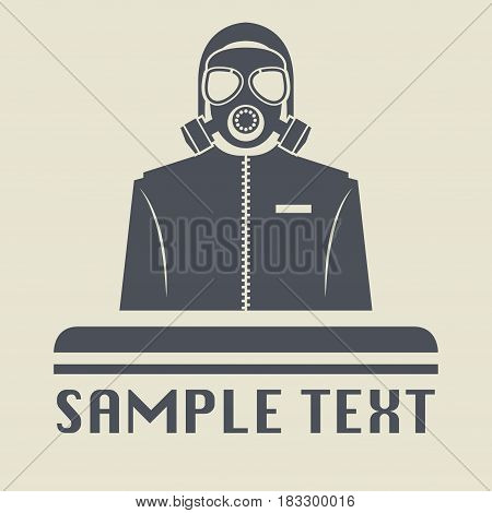 Chemical gas mask and costume icon or sign vector illustration
