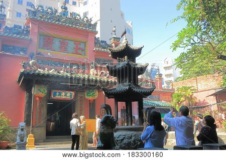 HO CHI MINH CITY VIETNAM - NOVEMBER 29, 2016: Unidentified people visit Emperor Jade Temple. Emperor Jade Temple was built by the Chinese community in 1912