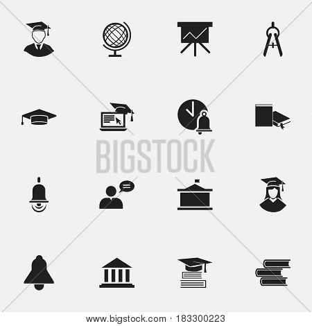 Set Of 16 Editable School Icons. Includes Symbols Such As Education, Library, Math Tool And More. Can Be Used For Web, Mobile, UI And Infographic Design.
