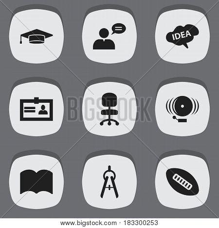 Set Of 9 Editable Science Icons. Includes Symbols Such As Oval Ball, Graduate, Mind And More. Can Be Used For Web, Mobile, UI And Infographic Design.