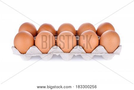 eggs in compartment paper tray package on white background