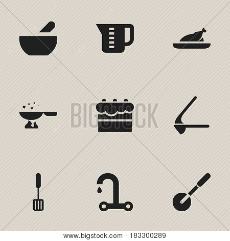 Set Of 9 Editable Cooking Icons. Includes Symbols Such As Knife Roller, Cooking Pan, Crusher And More. Can Be Used For Web, Mobile, UI And Infographic Design.