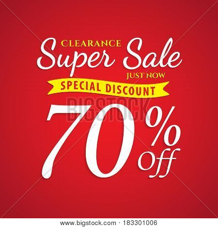 Vol. 1 Super Sale red 70 percent heading design for banner or poster. Sale and Discounts Concept. Vector illustration.