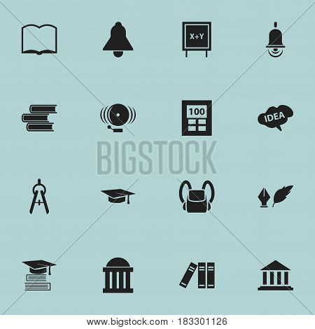 Set Of 16 Editable Education Icons. Includes Symbols Such As Mind, Library, Ring And More. Can Be Used For Web, Mobile, UI And Infographic Design.