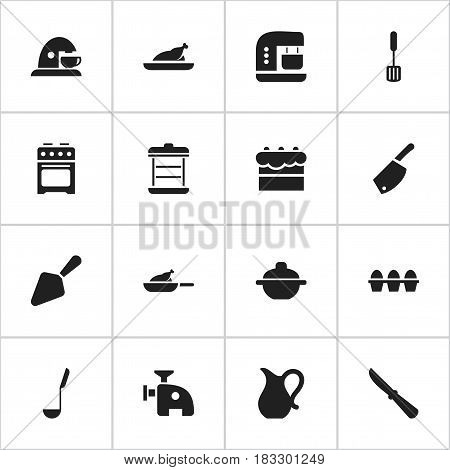Set Of 16 Editable Cooking Icons. Includes Symbols Such As Pastry, Fried Chicken, Boiler And More. Can Be Used For Web, Mobile, UI And Infographic Design.