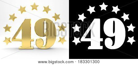 Golden number forty nine on white background with drop shadow and alpha channel decorated with a circle of stars. 3D illustration