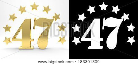 Golden number forty seven on white background with drop shadow and alpha channel decorated with a circle of stars. 3D illustration