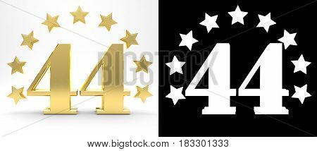 Golden number forty four on white background with drop shadow and alpha channel decorated with a circle of stars. 3D illustration
