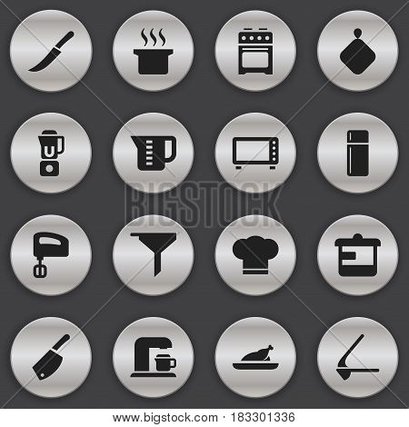 Set Of 16 Editable Cooking Icons. Includes Symbols Such As Backsword, Crusher, Fried Chicken And More. Can Be Used For Web, Mobile, UI And Infographic Design.