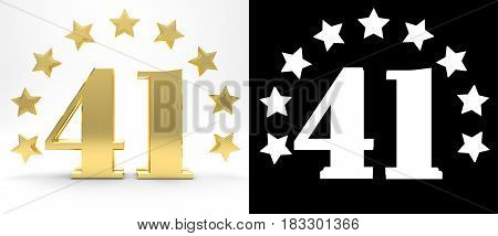 Golden number forty one on white background with drop shadow and alpha channel decorated with a circle of stars. 3D illustration