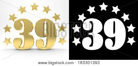 Golden number thirty nine on white background with drop shadow and alpha channel decorated with a circle of stars. 3D illustration