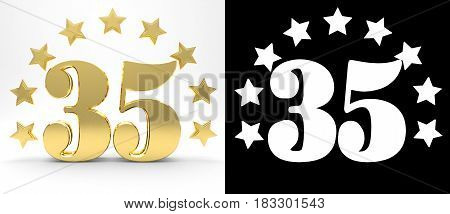 Golden number thirty five on white background with drop shadow and alpha channel decorated with a circle of stars. 3D illustration