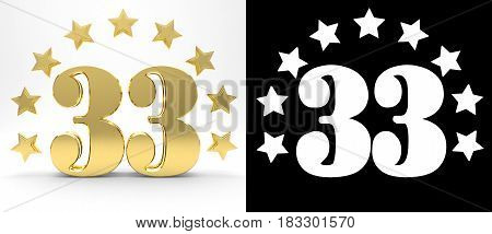 Golden number thirty three on white background with drop shadow and alpha channel decorated with a circle of stars. 3D illustration
