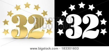Golden number thirty two on white background with drop shadow and alpha channel decorated with a circle of stars. 3D illustration