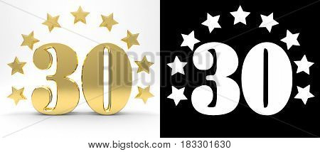 Golden number thirty on white background with drop shadow and alpha channel decorated with a circle of stars. 3D illustration