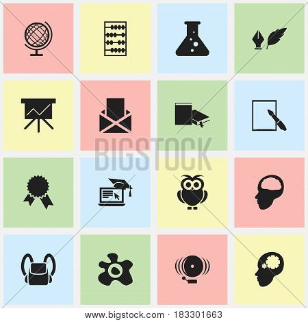 Set Of 16 Editable School Icons. Includes Symbols Such As Omelette, Cerebrum, Ring And More. Can Be Used For Web, Mobile, UI And Infographic Design.