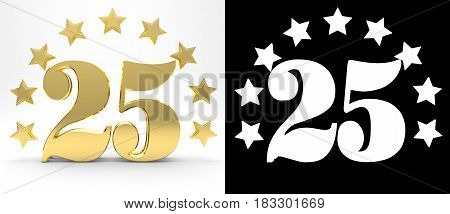 Golden number twenty five on white background with drop shadow and alpha channel decorated with a circle of stars. 3D illustration