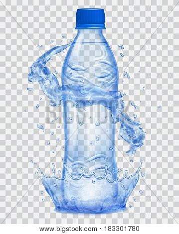 Transparent water crown and water splashes in blue colors around a blue transparent plastic bottle with blue cap filled with mineral water. Transparency only in vector file