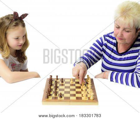 Check-mate, Grandma, grandmother, granddaughter, play, chess,home, home-care,
