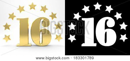 Golden number sixteen on white background with drop shadow and alpha channel decorated with a circle of stars. 3D illustration