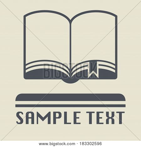 Open book with bookmark icon or sign vector illustration