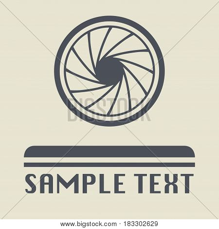 Lens and diaphragm icon or sign vector illustration