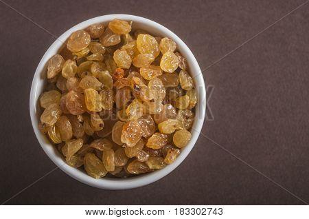 Organic Dried Golden Raisins in a Bowl