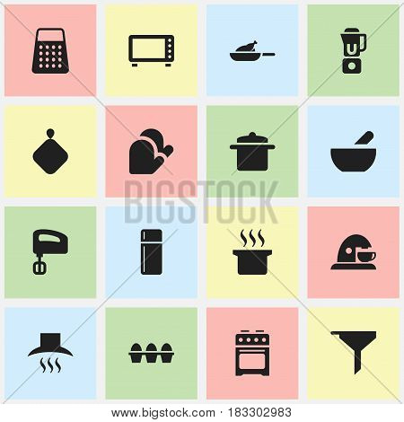 Set Of 16 Editable Meal Icons. Includes Symbols Such As Cup , Egg Carton , Hand Mixer. Can Be Used For Web, Mobile, UI And Infographic Design.