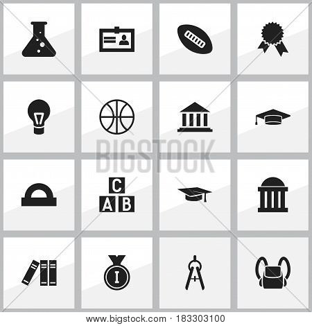Set Of 16 Editable Education Icons. Includes Symbols Such As Museum, Semicircle Ruler, Alphabet Cube And More. Can Be Used For Web, Mobile, UI And Infographic Design.