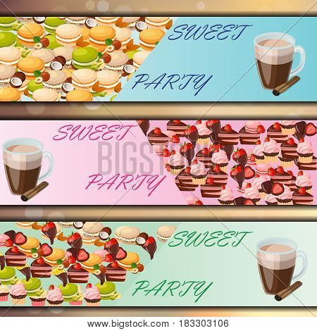 Very high quality original trendy vector banner set with sweets and cup of coffee