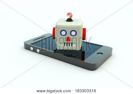 CHATBOT mobile phone white background 3d illustration