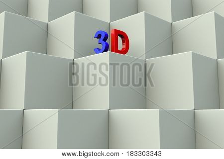 three dimensional text box background 3d illustration