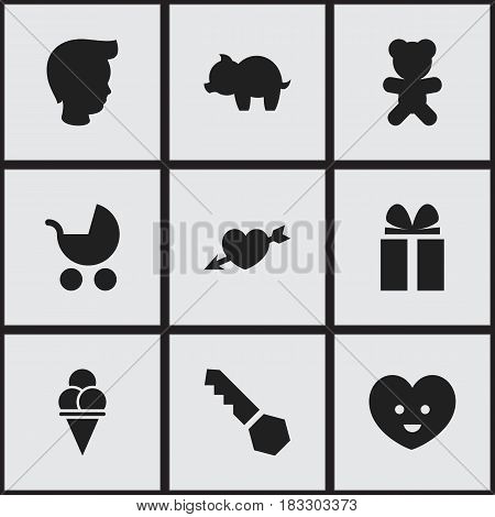 Set Of 9 Editable Kin Icons. Includes Symbols Such As Moneybox, Toy, Perambulator And More. Can Be Used For Web, Mobile, UI And Infographic Design.